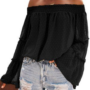 new Sheer Dotted Bell Sleeves Off Shoulder Top M